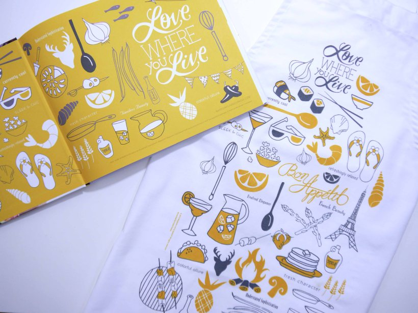 Illustrated apron and cookbook